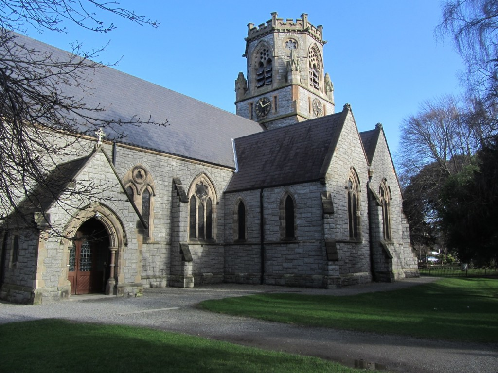 A view of the church from the south west. The architect intended a spire to sit on top of the octagonal belfry.