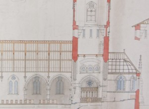 A detail of Wyatt's section of the church showing the north transept arcade, the choir, as first planned and the chancel.