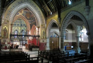 The chancel and south transept seen from the nave.
