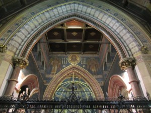 A view from the chancel arch to the ceiling above the choir.
