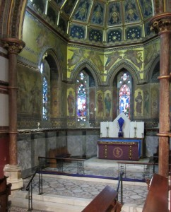A view of the sanctuary with the mosaic floors and painting designed by T.M.Deane.