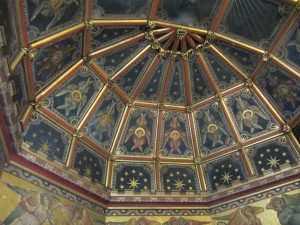 Detail of the sanctuary ceiling with the six-winged angels described by Saint John in the Book of Revelation.
